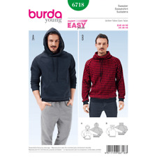 Burda Sewing Pattern 6718 Mens Pullover Hoodie Casual Sweatshirt Jumper
