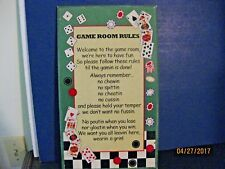 GAME ROOM RULES WOODEN SIGN 17 X 10 VINTAGE