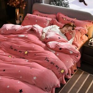 Coral Velvet 4-piece Set Thickened Winter Warm Double-sided Flannel Bedding