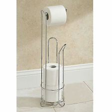 3 ROLL STORAGE BATHROOM TOILET FREE STANDING CHROME PAPER ROLL HOLDER DISPENSER