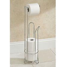 CHROME FREE STANDING BATHROOM TOILET PAPER ROLL HOLDER DISPENSER 3 ROLL STORAGE