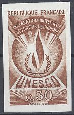 SERVICE N°39 DROITS DE L'HOMME ESSAI COULEUR BRUN PROOF IMPERF 1969 NEUF ** MNH