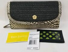 NWT Eric Javits Clutch Zip Wallet Black/Python Leather/Straw Retail $185