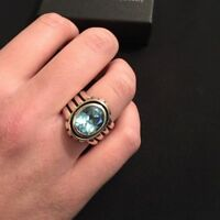 Silpada R0902 Blue Topaz Sterling Silver Ring Size 8 .925 Retired Rare Ribbed