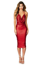 Women's Sexy Red Sparkly BodyCon Sequin Midi Cowl Neck Party Dress