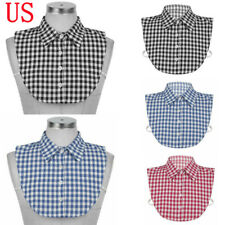 Detachable Dickey Collar Half Shirts Blouse False Grid Plaid Printe Neck Collar