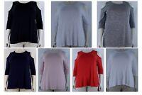 Women's Plain Cold Shoulder Peek 3/4 Sleeve Top Tunic, Plus Size 14-32