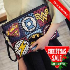New Marvel DC Superhero Clutch Bag Studded Leather Look Shoulder Handbag Comics