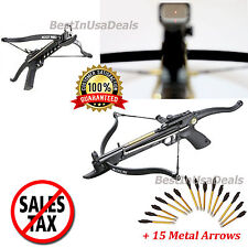 80 lb Mini Archery Hunting Gun Pistol Crossbow Hand Held Cross Bow 15 Arrows