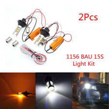 2X 1156 BAU15S Dual-Color Amber-White Switchback LED DRL Turn Signal Light Bulbs