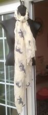 PEACOCKS CREAM SHEER MESH STYLE SQUARE SCARF WITH HORSE PATTERNS