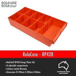 RolaCase RP428 390mm Orange Plastic Tub with Dividers Medium Storage Dividers
