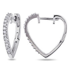Silver 1/4ct TDW Diamond Heart Hoop Earrings (J-K, I3)