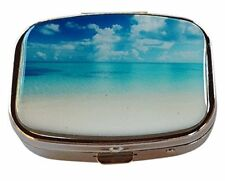 Life's a Beach Silver Two Compartment Rectangular Pocket/Travel Pill Box Case