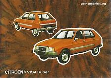 CITROEN VISA SUPER  Betriebsanleitung 1979 Bedienungsanleitung Handbuch BA
