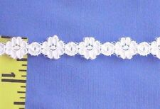 """Venice Lace Trim Embroidered Flower Bud Chain Lace Trim 1/2"""" White 7 yds #W106"""