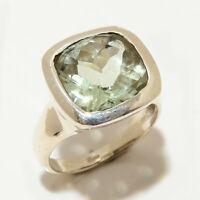 Green Amethyst Gemstone Handmade Ethinc 925 Sterling Silver Ring Size 7 R-185