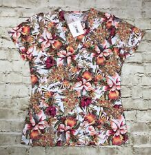 Essentials Scrubs Medical Uniform Womens Size Small Floral Front Pockets
