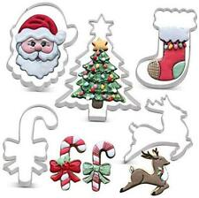 Christmas Cookie Cutter Set - 6 Piece - Christmas Tree with Star, Santa Face,