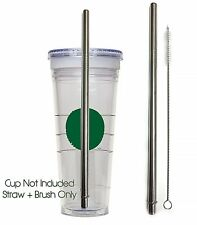 Replacement Straw + Brush for Starbucks GRANDE Cup Stainless Steel + Cleaner