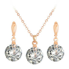 Fashion Rose Gold Plated CZ Round Jewellery sets Pendant Necklace Earrings.
