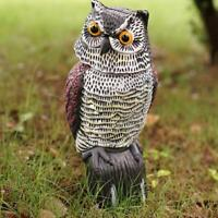 Shaking Head Owl Pest Deterrent Fake Birds Hunting Decoy Garden Repellers S8N4