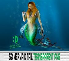 50 MERMAID TAIL TRANSPARENT PNG DIGITAL PHOTOSHOP OVERLAYS BACKDROPS BACKGROUNDS