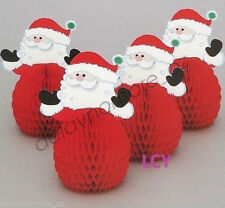 031d9843d231d Christmas Xmas Party 4x Mini Santa Claus Honeycomb Centrepiece Table  Decorations