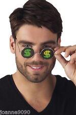 Hologram Dollar Sign Poker Face Fancy Dress Pimp Gangster Costume Glasses Specs