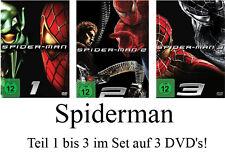3 DVDs * SPIDER MAN - TEIL 1 - 3 IM SET# NEU OVP <
