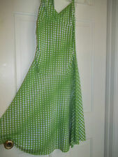 JUNIOR'S GREEN & WHITE POLKADOT SUNDRESS HALTER TOP SUNDRESS POLYESTER