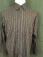 Bugatchi Uomo XL Men's Long Sleeve Button Front Striped Casual Shirt XL