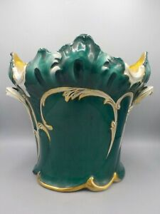 Antique Ceramic Jardiniere Planter Pot Teal Green Blue French?