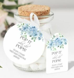 10 x Personalised Baby Shower Pop When She Pops Round Favour Tags IB
