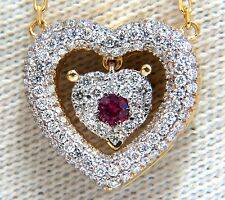 .75ct natural ruby diamonds dangle heart necklace 18kt.