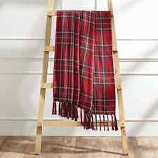 """Collin Woven Cotton Throw Blanket 60X50"""" Red Dark Green White Plaid W/ Tassels"""