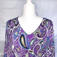 SUSAN GRAVER Knit Top 2X Womens Pullover Stretch Tiered Layers Purple