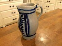 Vintage Salt Glaze Stoneware Pitcher Pottery, Cobalt Blue Leaf Design 1.5L