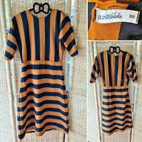 Junie Blake Vintage 00s Black Brown Striped Midi 1/2 Sleeve Fit Flare Dress 6-8