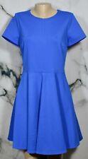DVF DIANE VON FURSTENBERG Blue Ivana Fit and Flare Dress 12 Short Sleeve Unlined