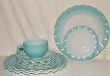 """Vintage 9pc HAZEL ATLAS """"CRINOLINE RIPPLE BLUE"""" 3-Dinner Plates/5-Saucers/1-Cup"""
