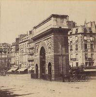 Parigi Porta Sant'Martin France Foto Stereo Stereoview Vintage Albumina Ca 1865