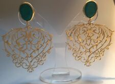 Brand New Baroque Design Handmade Turquoise & Gold Plated Vintage Look Earrings