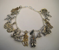 Vintage Sterling Silver Circus and Theater Assorted Charm Bracelet 8''