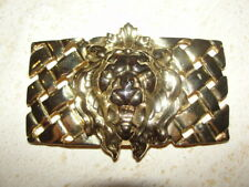 BELT BUCKLE GOLD LION GOLD LATTICE RECTANGLE BLING SHOW OFF SEXY