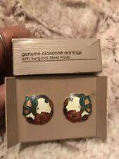 Vintage Nib Avon Genuine Cloisonné Earrings- Goldtone
