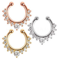 Septum Clip-On Fake Nose Ring Clicker Non-Piercing Crystal Hanger Hoop Jewelry