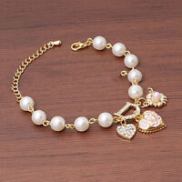 Lady Women Gold Plated Rhinestone Heart Bangle Bracelet Jewelry Tool