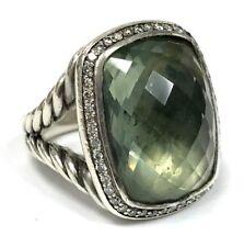 David Yurman Albion 20x15mm Prasiolite & 0.39 ct. Diamond Ring