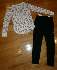 Outfit Old Navy Ivory Floral Shirt 10/12 & Justice Black Leggings Size 10 Nwt
